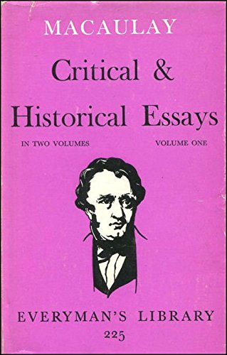 9780460002257: Macaulay: Essays: Volume 1 (Everyman's Library)