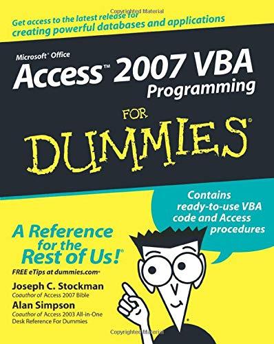 9780470046531: Access 2007 VBA Programming FD (For Dummies)