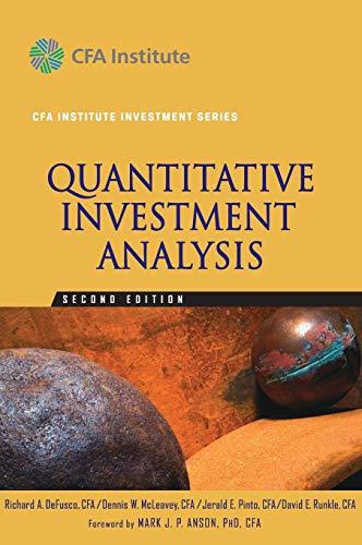 9780470052204: Quantitative Investment Analysis (CFA Institute Investment Series)