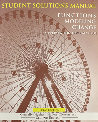 9780470067345: Functions Modeling Change: Student Solutions Manual: A Preparation for Calculus