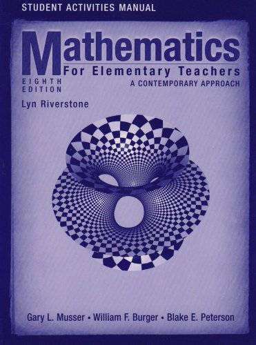 9780470105849: Student Activities Manual to accompany Mathematics for Elementary Teachers: A Contemporary Approach, 8th Edition