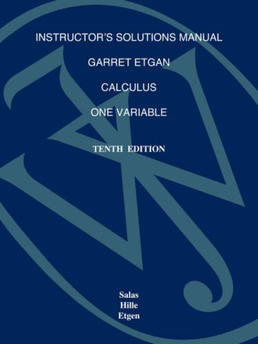 9780470127308: Calculus: Instructor's Solutions Manual: One Variable