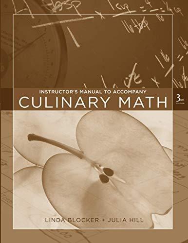 9780470135129: Culinary Math: Instructor's Manual