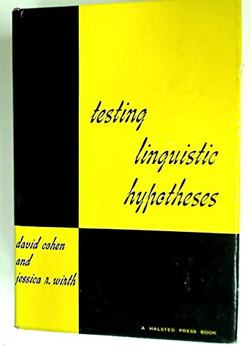 Testing Linguistic Hypotheses (0470164190) by Cohen, David; Wirth, Jessica R.