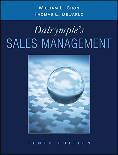 9780470169650: Dalrymple's Sales Management: Concepts and Cases