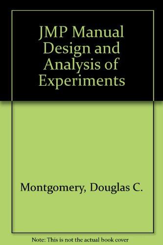 9780470169889: JMP Manual Design and Analysis of Experiments