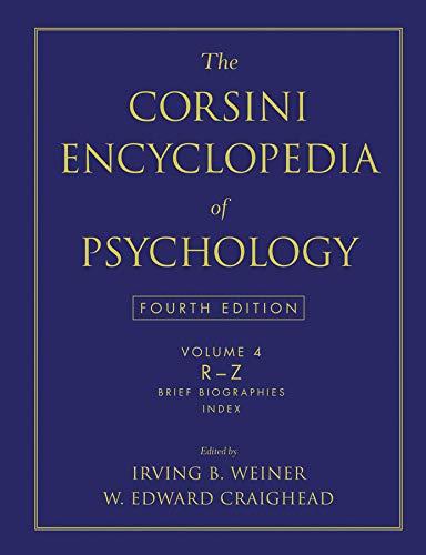 9780470170236: The Corsini Encyclopedia of Psychology, Volume 4