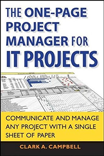 9780470275887: The One Page Project Manager for IT Projects: Communicate and Manage Any Project With A Single Sheet of Paper