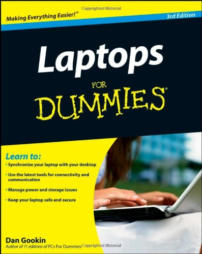 Laptops For Dummies 9780470277591 Laptops For Dummies, 3rd Edition shows you how to use your laptop to its fullest potential, from how to purchase a laptop and what to do when you first open the box to how to keep your laptop safe and running smoothly. You will discover how to choose and purchase the right laptop for you, how to set up and maintain your laptop, customize user accounts, adding your laptop to networks, printing, and connecting to the Internet. In this updated and revised edition, find information about synchronizing with the desktop, coordinating email pickup between two machines, remote access to the desktop, networking, power management, storage, and especially laptop security. You'll find out how to: Navigate all your laptop's components Use keyboard shortcuts and a mouse Organize and manage files and accounts Print files and add your laptop to a network Properly equip your laptop carrying case with tools and resources Manage the power supply Add software tools to synchronize and update files between a laptop, a PDA, and a desktop or office server In addition to the basics, find lists of ten battery tips and tricks, ten handy laptop accessories, and ten things you should keep in your laptop carrying case in Laptops for Dummies, 3rd Edition, a convenient and handy guide!