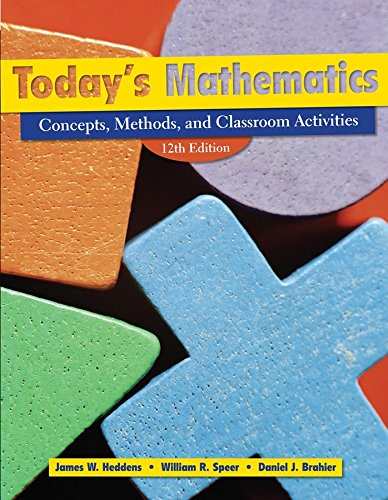 9780470286906: Today's Mathematics: Concepts, Methods, and Classroom Activities (Shrinkwrapped with CD inside envelop inside front cover of Text): Concepts, Classroom Methods, and Instructional Activities