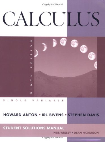 9780470379622: Student Solutions Manual to accompany Calculus Late Transcendentals Single Variable