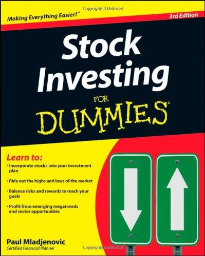 Stock Investing For Dummies [Jan 27, 2009] Mladjenovic, Paul