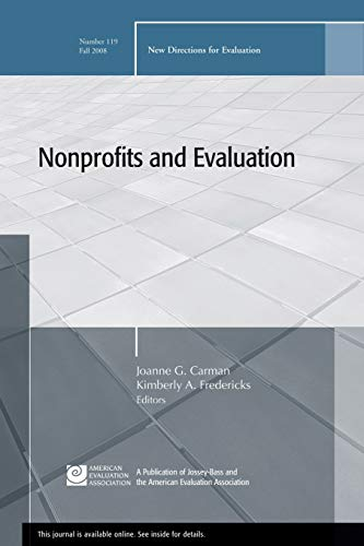9780470412732: Nonprofits and Evaluation: New Directions for Evaluation, Number 119