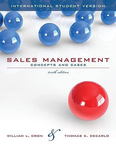 9780470418895: Sales Management