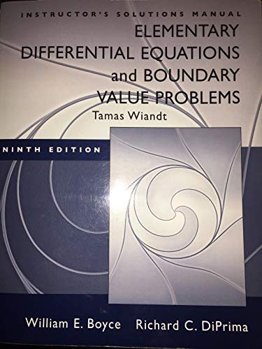 9780470424735: Elementary Differential Equations: Instructor's Solution Manual
