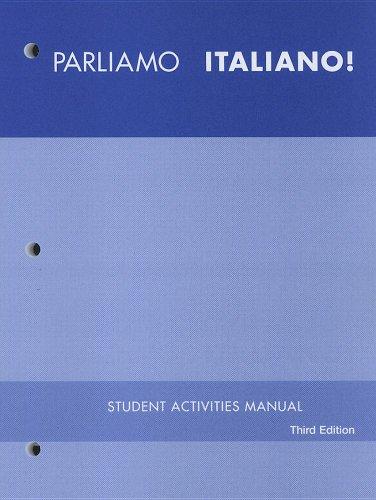 9780470426531: Parliamo italiano!, Student Activities Manual Workbook Lab Manual Video Manual: A Communicative Approach