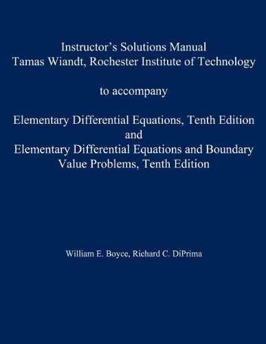 9780470458341: Instructor's Solution Manual to accompany Elementary Differential Equations and Elementary Differential Equations w/ Boundary Value Problems