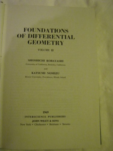 9780470496480: Foundations of Differential Geometry Volume II (Tracts in Pure & Applied Mathematics)
