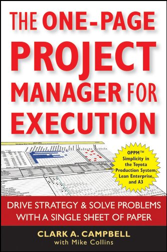 9780470499337: The One Page Project Manager for Execution: Drive Strategy and Solve Problems with a Single Sheet of Paper