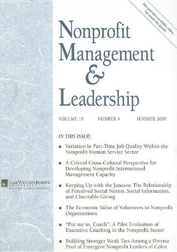 9780470525616: Nonprofit Management & Leadership, Index Issue, No. 4, Summer 2009 (J-B NML Single Issue Nonprofit Management & Leadership) (Volume 19)