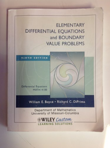 9780470540985: Elementary Differential Equations and Boundary Value Problems (University of Missouri Custom MATH 4100)