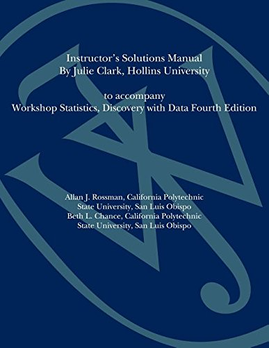 9780470547250: Workshop Statistics: Discovery with Data Instructor's Solutions Manual to Accompany Workshop Statistics