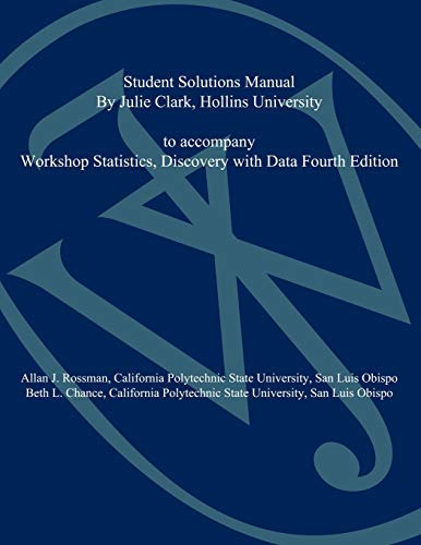9780470547267: Workshop Statistics, Student Solutions Manual: Discovery with Data