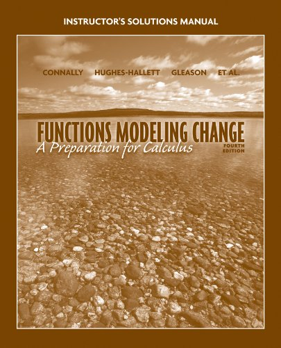 9780470547366: Functions Modeling Change: A Preparation for Calculus Instructor's Solutions Manual