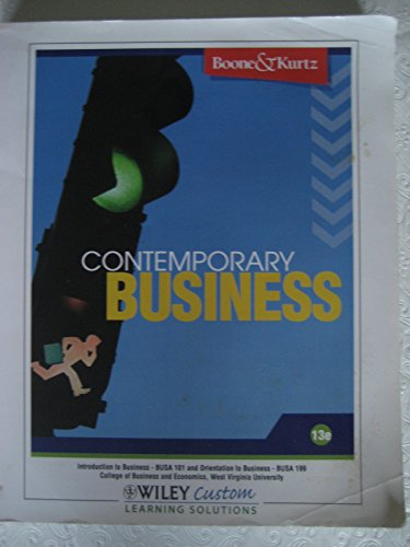9780470567876: contemporary business (introduction to business busa 101 and orientation to business fusa 199, college of business and economics west virginia university)