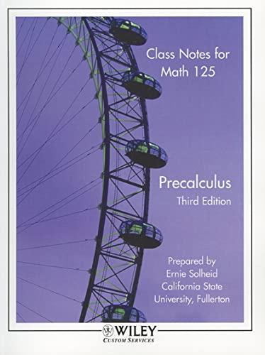 9780470895849: (Wcs)Class Notes for Math 125 Precalculus