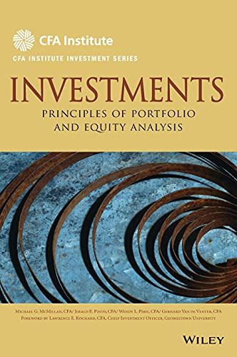 9780470915806: Investments: Principles of Portfolio and Equity Analysis (CFA Institute Investment Series)