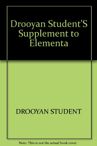 9780471018254: Drooyan Student'S Supplement to Elementa