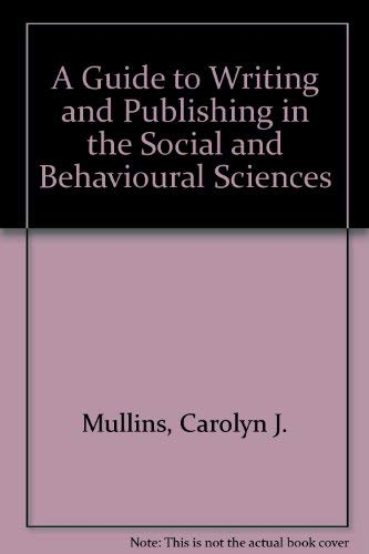 9780471027089: A Guide to Writing and Publishing in the Social and Behavioural Sciences