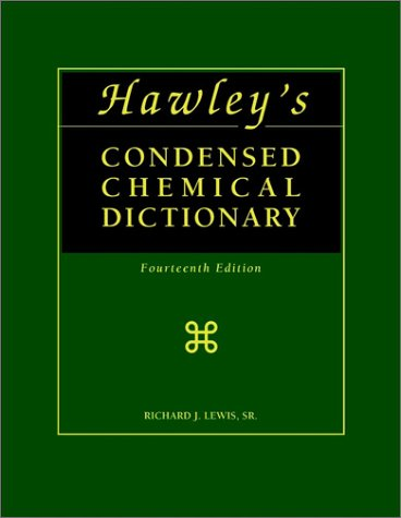 9780471055334: Hawley's Condensed Chemical Dictionary, 14 Ed. Book and CD Set