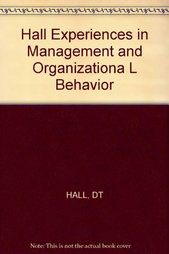 9780471062424: Hall Experiences in Management and Organizationa L Behavior