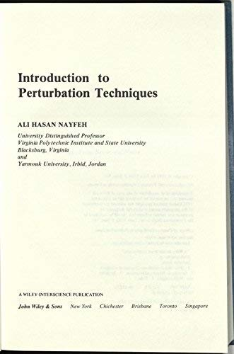 9780471080336: Introduction to Perturbation Techniques