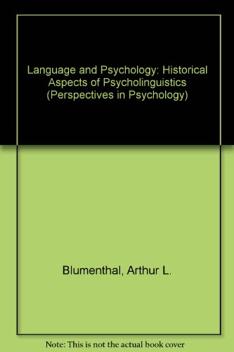 9780471084013: Language and Psychology: Historical Aspects of Psycholinguistics (Perspectives in Psychology)