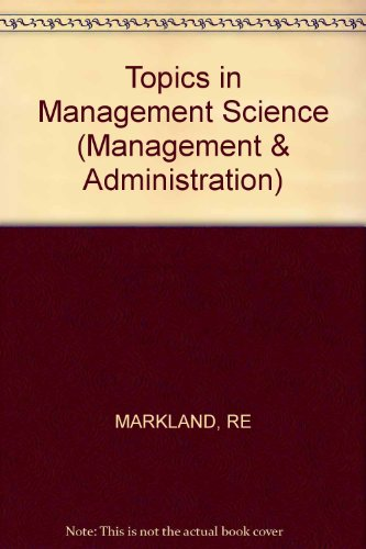 9780471098300: Topics in Management Science (Management & Administration)