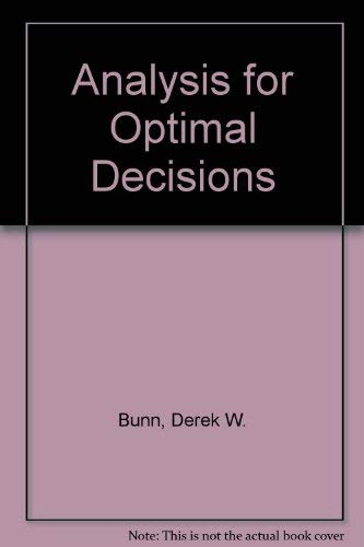 9780471101321: Analysis for optimal decisions