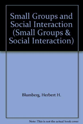 9780471102427: Small Groups and Social Interaction (Small Groups & Social Interaction)