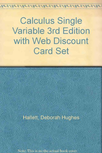 9780471156116: Calculus Single Variable 3rd Edition with Web Discount Card Set
