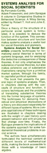 Systems Analysis for Social Scientists