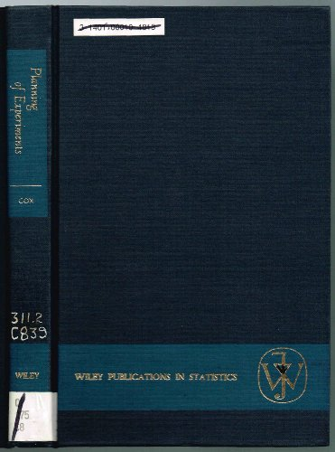 9780471181835: Planning of Experiments (Wiley Series in Probability and Statistics - Applied Probability and Statistics Section)