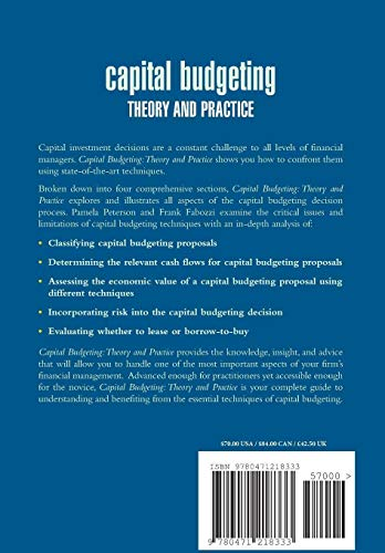 9780471218333: Capital Budgeting: Theory and Practice (Frank J. Fabozzi Series)