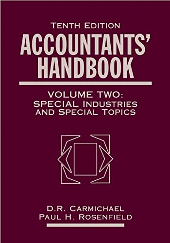 Accountants' Handbook, Financial Accounting and General Topics,: Carmichael, D. R.,