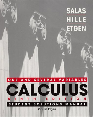 9780471275213: Calculus: One and Several Variables, Student Solutions Manual, Ninth Edition