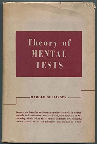 Theory of mental tests: Gulliksen, Harold