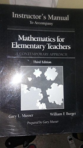 9780471368618: Mathematics for Elementary Teachers: A Contemporary Approach 3rd Edition and 4th Edition Student Hints and Solutions Manual