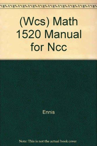 9780471373636: (Wcs) Math 1520 Manual for Ncc