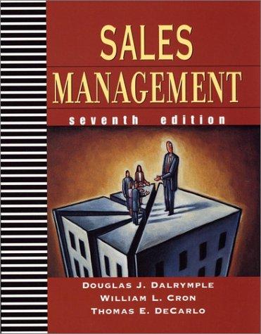 Sales Management: Concepts and Cases: Douglas J. Dalrymple,